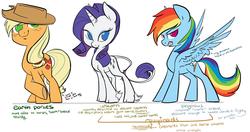 Size: 1157x613 | Tagged: safe, artist:php27, applejack, rainbow dash, rarity, classical unicorn, comparison, mythology, redesign