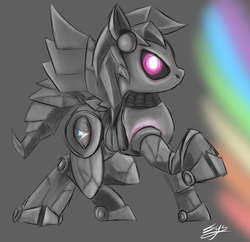 Size: 2139x2074 | Tagged: safe, artist:synad, rainbow dash, robot, high res