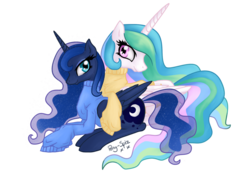Size: 1668x1174 | Tagged: safe, artist:pony-spiz, princess celestia, princess luna, alicorn, pony, clothes, cute, female, looking at you, mare, pretty, simple background, sisters, sweater