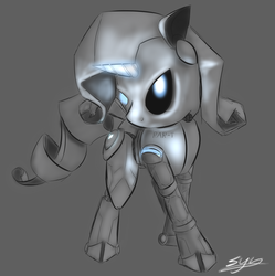 Size: 1720x1724 | Tagged: safe, artist:synad, rarity, robot