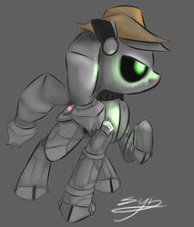 Size: 1088x1280 | Tagged: safe, artist:synad, applejack, earth pony, pony, robot, robot pony, applebot, female, hat, hooves, mare, simple background, solo