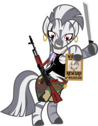 Size: 4072x5211 | Tagged: absurd res, ak-74, artist:tensaioni, gun, machete, rifle, safe, simple background, solo, transparent background, wanted poster, weapon, zebra