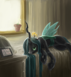 Size: 1000x1080 | Tagged: alarm clock, artist:ifoldbooks, beautiful, bed, changeling, changeling queen, clock, dresser, female, morning ponies, potted plant, queen chrysalis, safe, solo, window