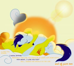 Size: 1280x1131 | Tagged: safe, artist:taharon, soarin', spitfire, pegasus, pony, comic:the wonderbolts, duo, eyes closed, female, hug, lying down, male, mare, on back, shipping, soarinfire, stallion, straight