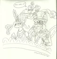 Size: 850x882 | Tagged: safe, artist:unoservix, discord, princess celestia, screwball, classy, clothes, date, dress, glass, hat, magic, monochrome, monocle, moustache, opera, propeller hat, suit, swag, swirly eyes, waitress
