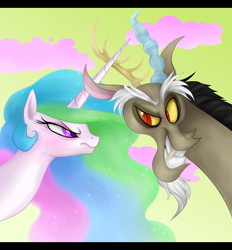 Size: 886x954   Tagged: safe, artist:mn27, discord, princess celestia, alicorn, draconequus, pony, angry, dislestia, duo, female, frown, glare, grin, happy, male, scowl, sharp teeth, shipping, smiling, straight, sweet clouds, teeth