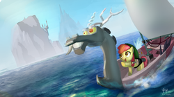 Size: 1260x707 | Tagged: safe, artist:ponyrake, apple bloom, discord, earth pony, pony, boat, canterlot, female, filly, foal, island, king of red lions, link, ocean, open mouth, parody, pointing, smiling, the legend of zelda, the legend of zelda: the wind waker