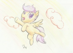 Size: 2200x1600 | Tagged: artist:osakaoji, flying, safe, scootaloo, scootaloo can fly, solo, traditional art