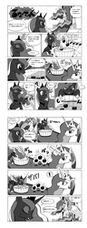 Size: 765x2000 | Tagged: dead source, safe, artist:docpel, princess celestia, princess luna, alicorn, pony, luna eclipsed, ..., apple, apple bobbing, comic, dialogue, duo, duo female, exclamation point, eyes closed, female, food, grayscale, japanese, magic, mare, monochrome, pixiv, question mark, simple background, sitting, smiling, snorting, speech bubble, sweat, telekinesis, throne, trollestia, white background