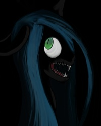 Size: 800x1000 | Tagged: safe, artist:vannamelon, queen chrysalis, changeling, changeling queen, black background, bust, fangs, female, looking back, open mouth, sharp teeth, simple background, solo, teeth