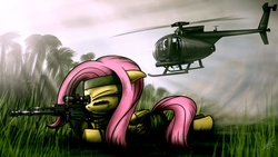 Size: 1920x1080   Tagged: safe, artist:dori-to, fluttershy, pegasus, pony, as50, female, floppy ears, flutterbadass, gun, helicopter, hooves, lying down, mare, md-500, optical sight, rifle, sniper, sniper rifle, snipershy, solo, weapon, wings