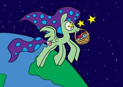 Size: 900x636 | Tagged: safe, artist:joeywaggoner, look before you sleep, egg, globe, shooting stars, six-legged pony