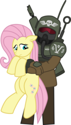 Size: 1947x3439 | Tagged: safe, artist:commissarprower, fluttershy, human, pony, armor, cadian shock troops, captured, cute, gun, helmet, hug, imperial guard, imperium, lasgun, mask, simple background, skull, soldier, warhammer (game), warhammer 40k