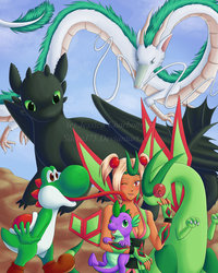 Size: 900x1125 | Tagged: anthro, artist:silentj75, crossover, dragon, eastern dragon, flygon, haku, how to train your dragon, human, japanese dragon, long tongue, night fury, safe, spike, spirited away, super mario bros., tongue out, toothless the dragon, yoshi
