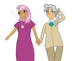 Size: 650x550 | Tagged: safe, artist:woop-de-de-doo, cheerilee, mayor mare, blushing, clothes, dress, female, glasses, holding hands, humanized, jewelry, lesbian, mayorlee, necklace, shipping, simple background, transparent background