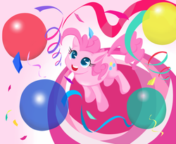 Size: 1000x821 | Tagged: artist:8->, balloon, looking up, pinkie pie, pixiv, safe