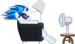 Size: 2568x1519 | Tagged: safe, artist:kurokaji11, dj pon-3, vinyl scratch, pony, unicorn, chair, fan, female, glasses, hooves, horn, lamp, mare, maxell, parody, relaxing, simple background, sitting, smiling, solo, sunglasses, table, teeth, transparent background, vector, windswept mane