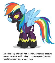 Size: 960x1088 | Tagged: safe, rainbow dash, luna eclipsed, calibri, clothes, costume, meta, nightmare night, shadowbolt dash, shadowbolts, shadowbolts costume