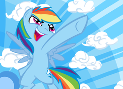 Size: 2338x1700 | Tagged: safe, artist:tess, rainbow dash, pegasus, pony, cloud, female, mare, open mouth, pointing, solo