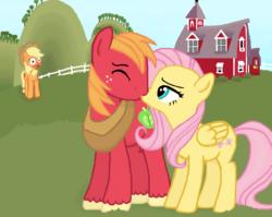 Size: 730x581 | Tagged: safe, artist:thecat101, applejack, big macintosh, fluttershy, earth pony, pony, fluttermac, kissing, male, shipping, stallion, straight