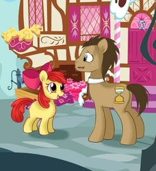 Size: 610x668 | Tagged: safe, artist:spacefanart, apple bloom, doctor whooves, time turner, call of the cutie, eye contact, nervous, scene interpretation, sweatdrop