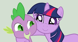 Size: 900x485 | Tagged: artist:button-pup, hug, mama twilight, safe, spike, twilight sparkle