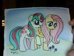 Size: 640x480 | Tagged: artist:sakurakaijuu, fluttershy, g1, g1 to g4, generation leap, gusty, safe, traditional art