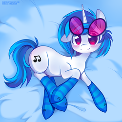 Size: 800x800 | Tagged: safe, artist:pekou, dj pon-3, vinyl scratch, pony, unicorn, blushing, clothes, cute, ear down, female, looking at you, mare, smiling, socks, solo, striped socks, vinylbetes
