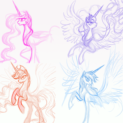 Size: 1000x1000 | Tagged: safe, artist:mn27, applejack, princess celestia, princess luna, rainbow dash, alicorn, pony, alicornified, applecorn, lineart, race swap, rainbowcorn, simple background, sketch, white background