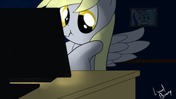 Size: 1280x720 | Tagged: safe, artist:lionelbrony, bon bon, derpy hooves, lyra heartstrings, sweetie drops, pegasus, pony, computer, female, mare, scrunchy face, solo