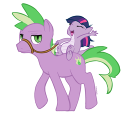 Size: 682x622 | Tagged: dead source, safe, artist:conchelor, spike, twilight sparkle, dragon, pony, a dog and pony show, dragonified, dragons riding ponies, ponified, ponified spike, riding, role reversal, species swap, twilidragon