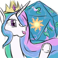 Size: 500x500 | Tagged: safe, artist:d715, princess celestia, ask, d20, game tia, tumblr