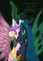 Size: 1500x2100 | Tagged: safe, artist:myra-avalon, princess cadance, queen chrysalis, alicorn, changeling, pony, bust, cadance two face, character to character, crown, disappearing clothes, disguise, disguised changeling, duality, fake cadance, fangs, female, floral head wreath, flower, flower in hair, glowing horn, horn, jewelry, magic, mare, portrait, regalia, shapeshifting, simple background, solo, spread wings, teeth, text, transformation, wings