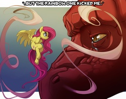 Size: 1100x864 | Tagged: safe, artist:noben, basil, fluttershy, dragon, dragonshy, crying, dialogue, quote, scene interpretation, size difference