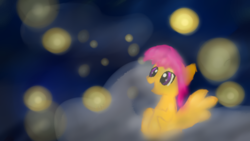 Size: 1366x768 | Tagged: artist:littlesushibox, firefly (insect), safe, scootaloo