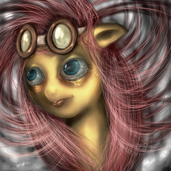 Size: 666x666 | Tagged: artist:klalaskaxd, crying, fluttershy, goggles, safe, uncanny valley