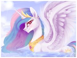 Size: 1600x1200 | Tagged: alicorn, artist:imalou, bath, blushing, crepuscular rays, crown, cute, cutelestia, dripping, duck pony, featured image, female, fluffy, jewelry, lidded eyes, looking at you, mare, messy mane, necklace, pony, princess celestia, profile, regalia, safe, solo, spread wings, sun, swanlestia, water, wet, wet mane, wing fluff