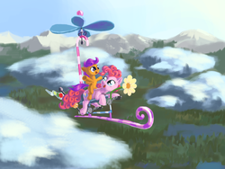 Size: 1680x1260 | Tagged: safe, artist:cannibalus, pinkie pie, scootaloo, flying, flying contraption, pedalcopter, pinkiecopter, riding, scootalove, vertigo