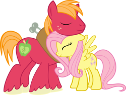Size: 3102x2342 | Tagged: safe, artist:asdflove, big macintosh, fluttershy, earth pony, pony, fluttermac, high res, male, shipping, simple background, stallion, straight, transparent background, vector