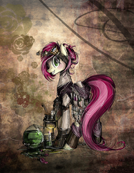 Size: 716x922 | Tagged: safe, artist:nastylady, roseluck, earth pony, pony, abstract background, bunsen burner, chemistry, clothes, featured image, female, goggles, grin, looking at you, mare, smiling, solo, steampunk, vial, wide eyes