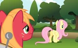 Size: 8280x5140 | Tagged: safe, artist:bobthelurker, big macintosh, fluttershy, earth pony, pony, absurd resolution, butt, flutterbutt, fluttermac, looking at her butt, male, plot, shipping, stallion, straight
