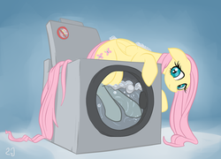 Size: 1904x1371 | Tagged: artist:gsphere, breaking the law, fluttershy, gradient background, safe, solo, washing machine, wet, wet mane