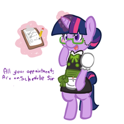 Size: 450x450 | Tagged: artist:mt, bipedal, clothes, glasses, maid, pony, safe, solo, twilight sparkle