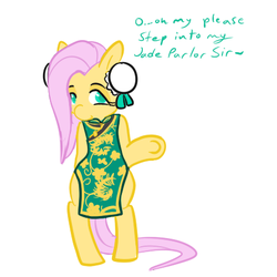 Size: 450x450 | Tagged: artist:mt, bipedal, chinese, clothes, costume, fluttershy, maid, pony, safe, solo