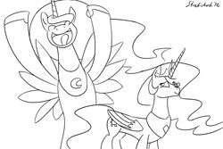 Size: 990x660 | Tagged: alicorn, macro, monochrome, pony, princess celestia, princess luna, safe, unicorn