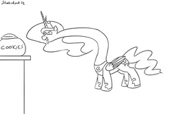 Size: 990x660 | Tagged: long neck, monochrome, princess luna, safe, wat