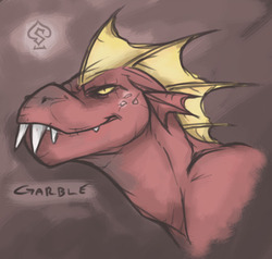 Size: 663x632 | Tagged: artist:soulspade, dragon, fangs, garble, red, safe, signature, teeth, yellow