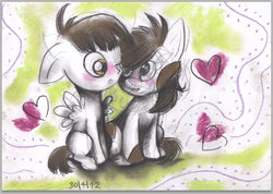 Size: 592x421 | Tagged: safe, artist:artseytrilogy, featherweight, pipsqueak, feathersqueak, gay, male, shipping
