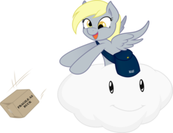 Size: 7677x5913 | Tagged: safe, artist:joey darkmeat, artist:tim015, derpy hooves, pegasus, pony, absurd resolution, female, fragile, lakitu, lakitu cloud, mare, package, riding, simple background, solo, super mario bros., transparent background, vector