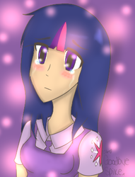 Size: 307x402 | Tagged: safe, artist:clobug98, twilight sparkle, 100000th post, blushing, bust, crying, female, get, gif party, humanized, implied spike, index get, milestone, party in the comments, party thread, sad, solo, x00000 milestone
